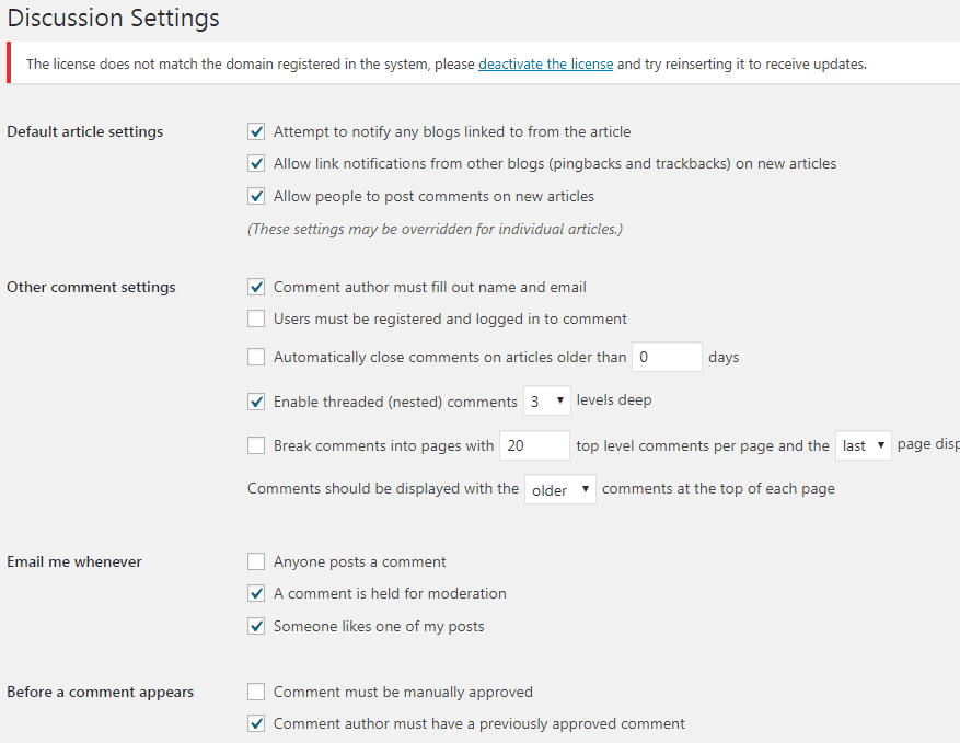discussion or comment settings wordpress