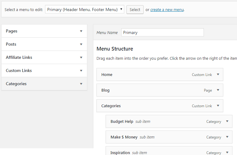 wordpress blog menu setup